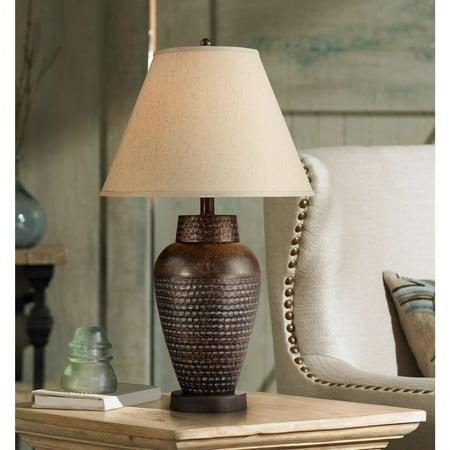 Regency Hill Modern Table Lamp Rustic Hammered Bronze Metal Vase Natural Linen Empire Shade for Living Room Family Bedroom (Bronze Vented Natural)