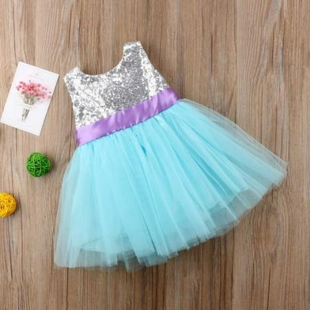 Summer Baby Girl Shiny Glamour Princess Sequin Sleeveless Party Dress