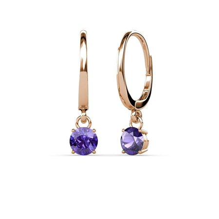 Iolite 4mm Four Prong Solitaire Dangling Earrings 0.50 ct tw in 14K Rose Gold (Dangling Iolite Earrings)