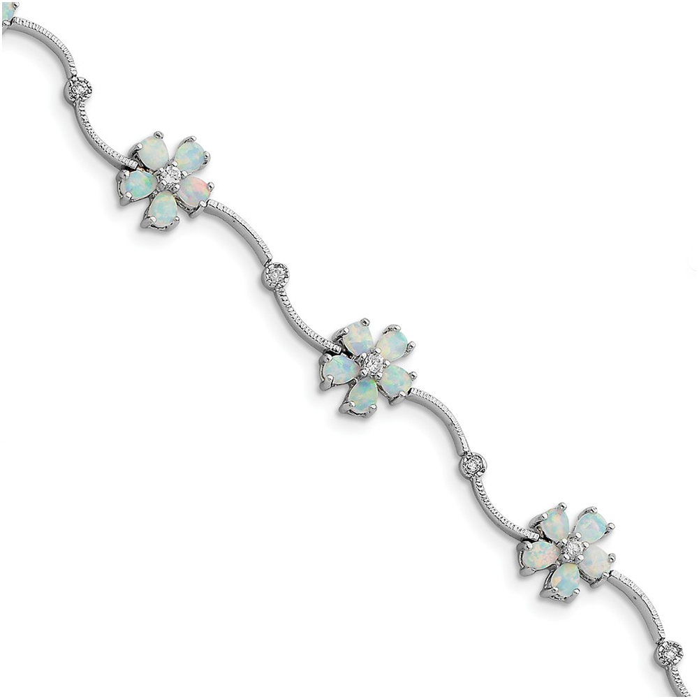 Sterling Silver 7inch Created Opal & Cubic Zirconia Flower Bracelet QX525CP by