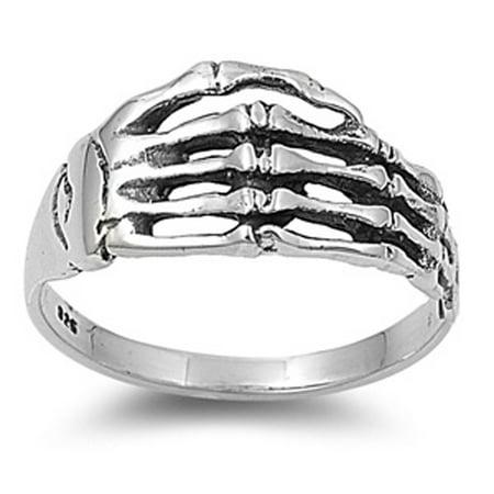 Sterling Silver Women's Biker Skeleton Hand Ring (Sizes 5-10) (Ring Size 6) - Biker Birthday