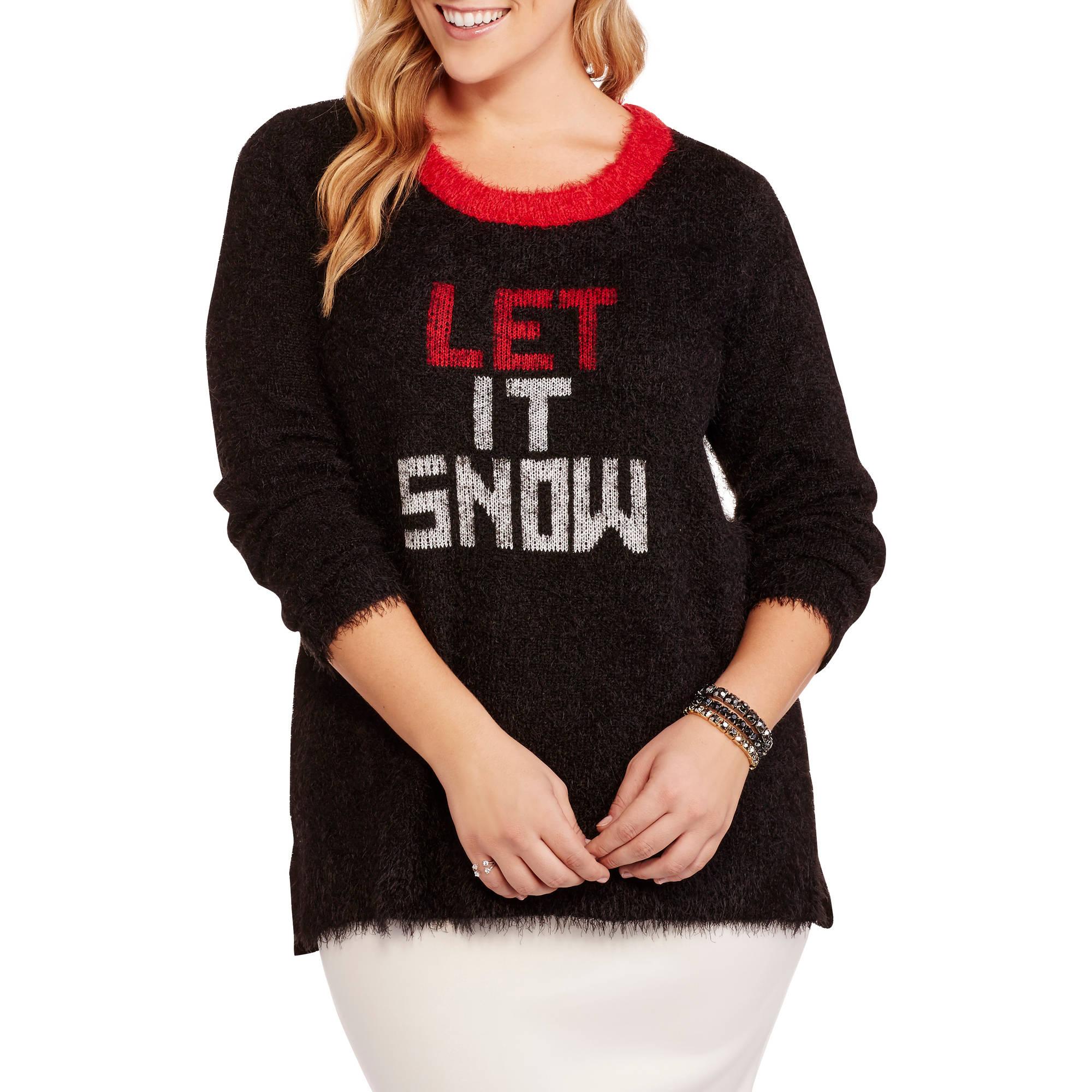 French Laundry Women's Plus Crew Neck Winter Festive Let It Snow Sweater
