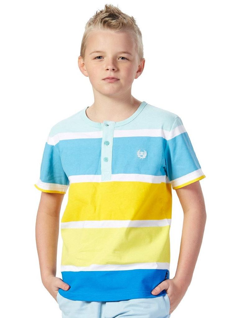 Leo&Lily Big Boys'Kids Short Sleeve Stripes Jersey Crew-neck Cardigan T-Shirts