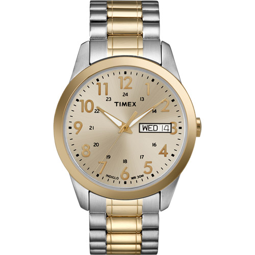 Timex Men's South Street Sport Champagne Dial Watch, Extra Long Stainless Steel Expansion Band by Timex
