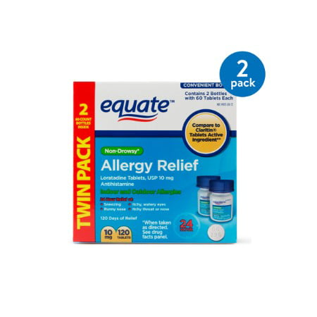 (2 Pack) Equate Non-Drowsy Allergy Relief Loratadine Tablets, 10 mg, 60 Ct, 2