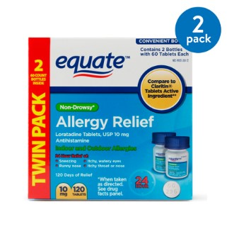 (2 Pack) Equate Non-Drowsy Allergy Relief Loratadine Tablets, 10 mg, 60 Ct, 2 Pk