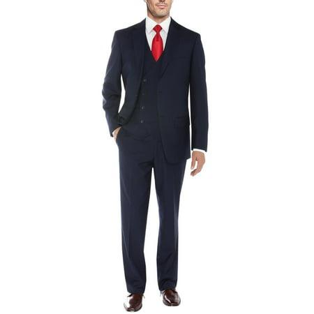 Three Button Suit (Salvatore Exte Men's Vested Suit 3 Piece 2 Button Blazer Vest Flat Front Pants Navy)