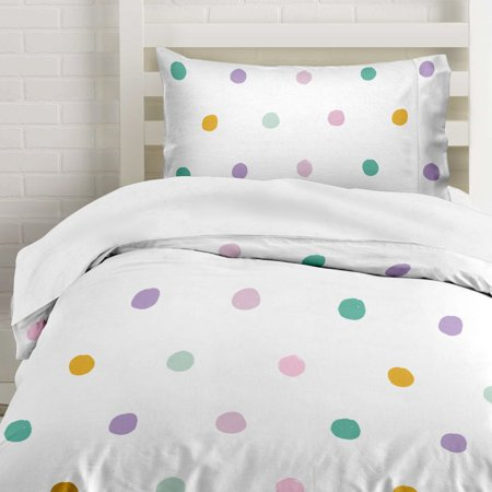 Where The Polka Dots Roam Twin Colorful Polka Dots Duvet Cover Set with 1 Pillowcase for Kids Bedding - Double Brushed Microfiber (68