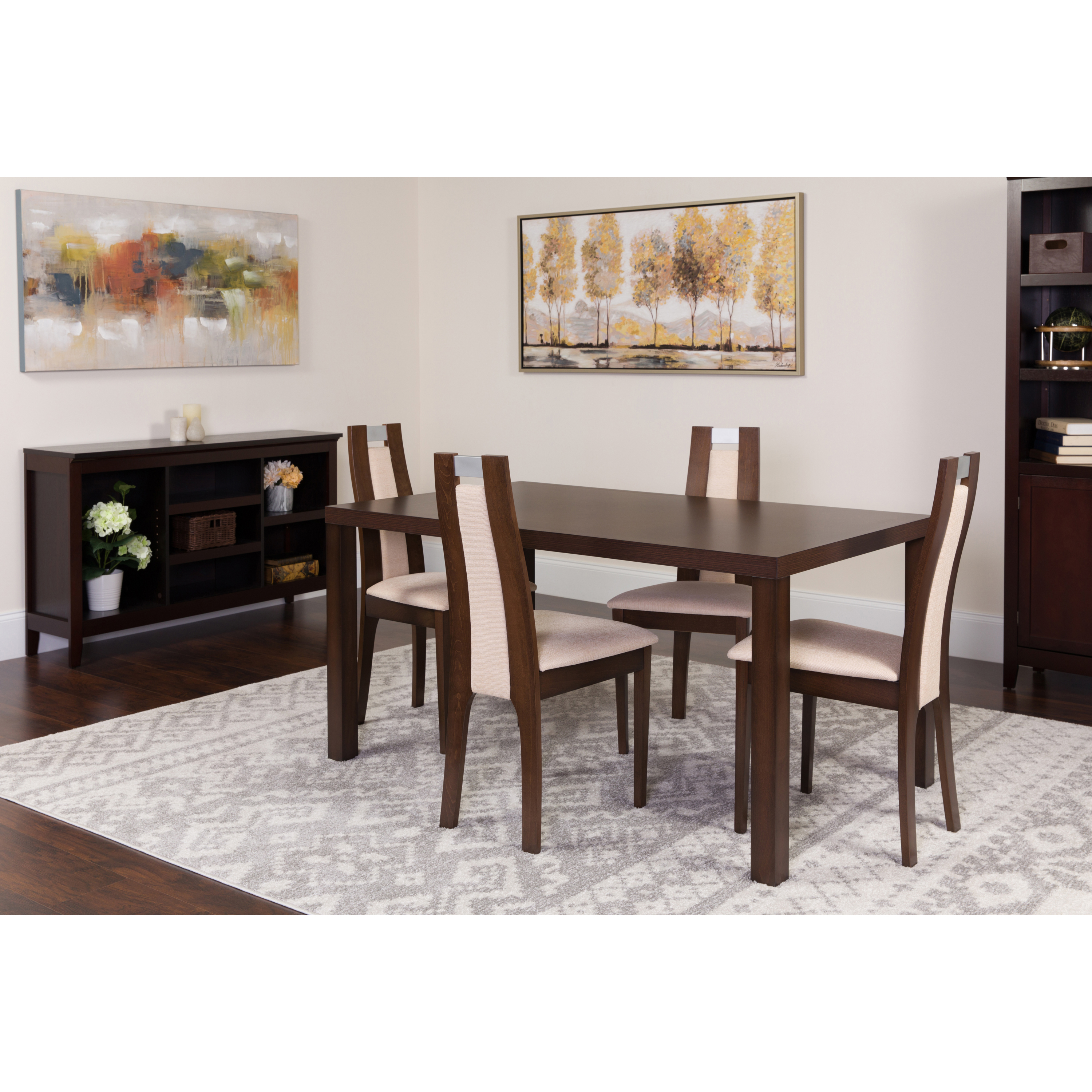Flash furniture harlesden 5 piece espresso wood dining table set with curved slat wood dining chairs padded seats walmart com