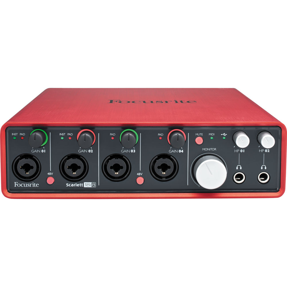 Focusrite Scarlett 18i8 18 In/8 Out USB 2.0 Audio Interface with 4 Foc
