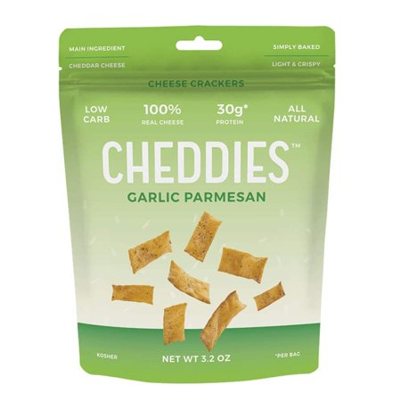 Cheddies High Protein Low Carb Cheese Crackers - Garlic (Grocery List For High Protein Low Carb Diet)