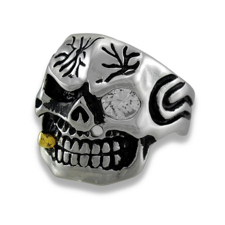 Stainless Steel Tribal Skull Ring w/Cigar and Rhinestone Eye Size