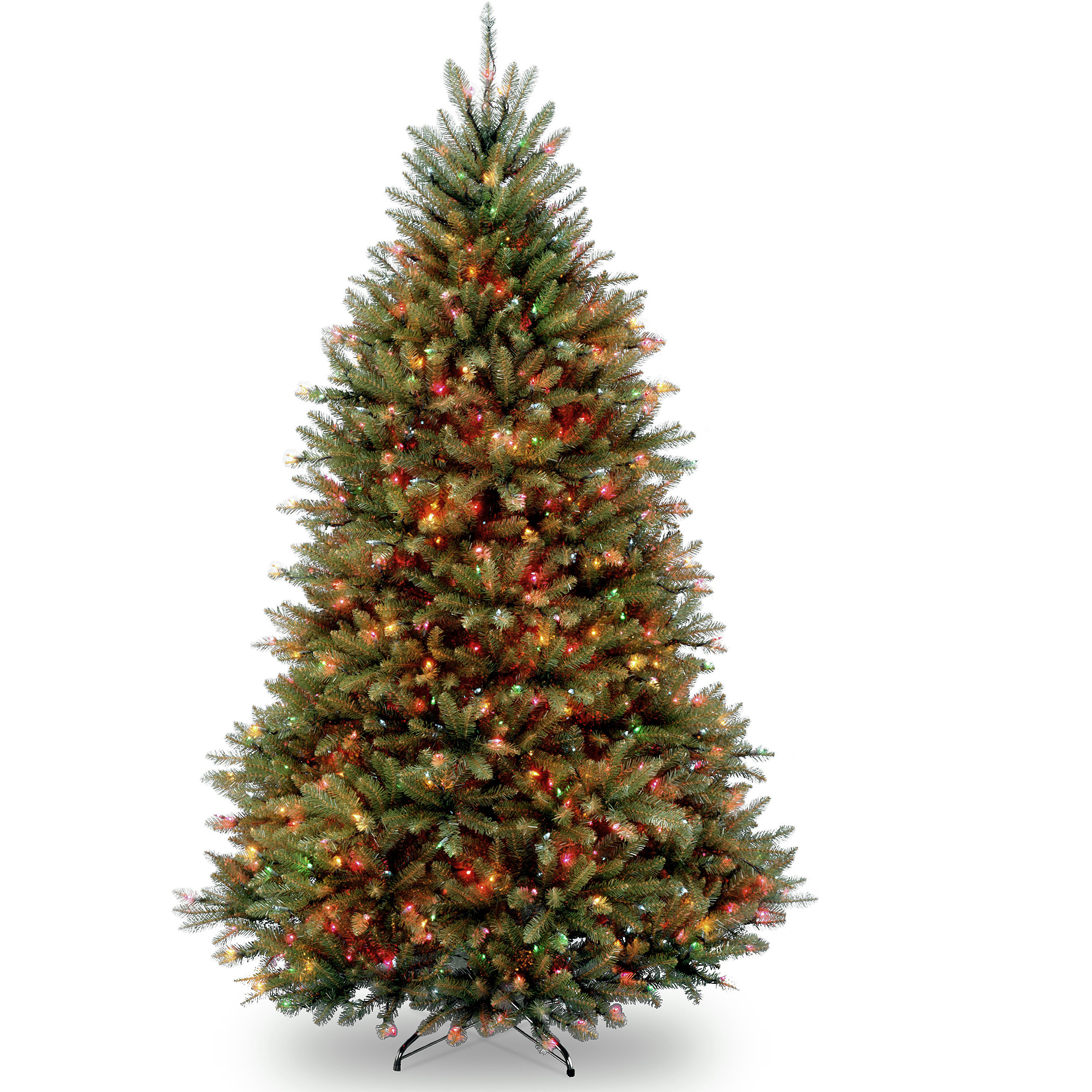 National Tree Pre-Lit 7-1/2' Dunhill Fir Hinged Artificial Christmas Tree with 750 Multi Lights