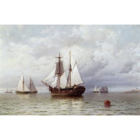 Outward Bound Whaler William Bradford (1823-1892 American) Stretched Canvas - William Bradford (18 x