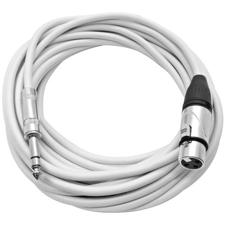 Seismic Audio 25 Foot XLR Female to 1/4 Inch TRS Patch Cable - Balanced White Audio Cord 25' - - Mogami 1/4 Trs Balanced Patch