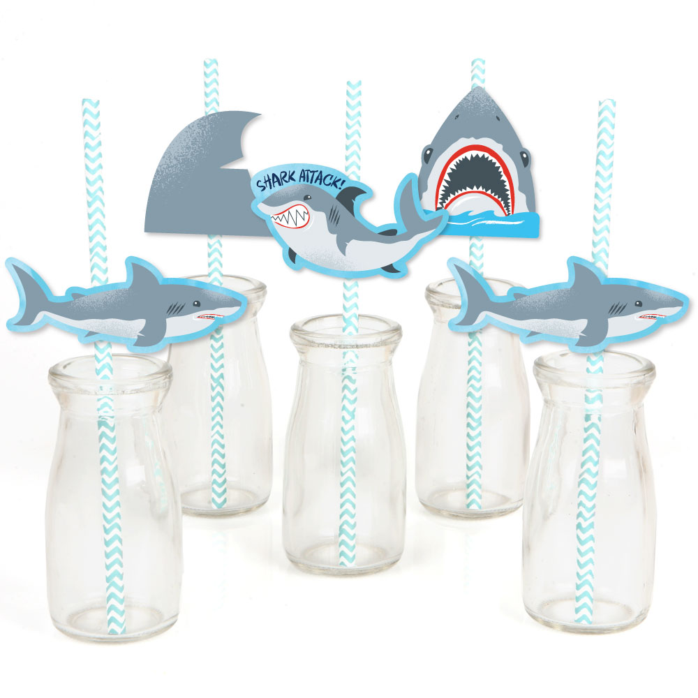 Shark Zone - Shark Week Party - Paper Straw Decor - Jawsome Shark Party or Birthday Party Striped Decor Straw-24Ct