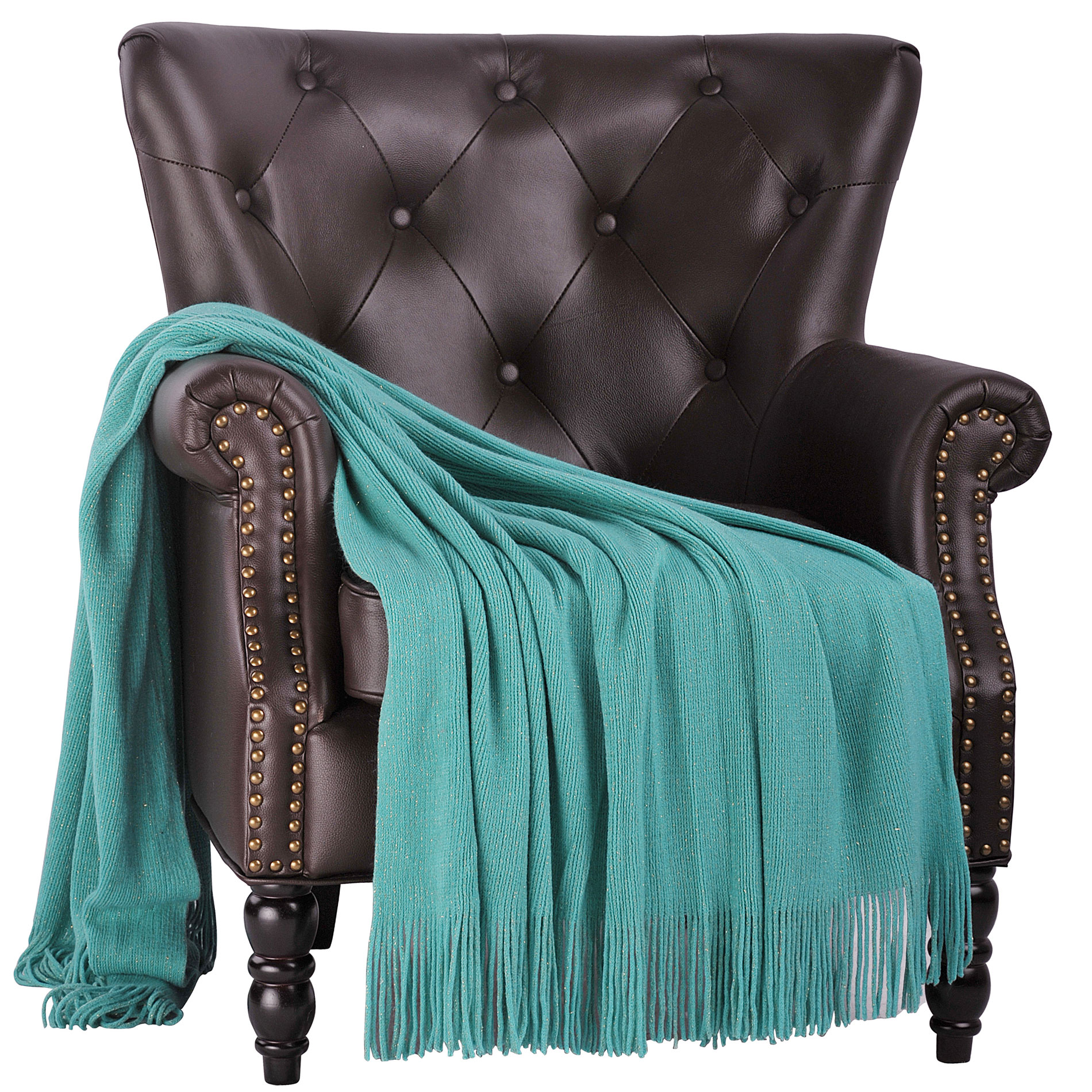 "BOON Glitter Knitted Throw Blanket, Blue Turquoise/Gold Metallic Yarn, 50"" x 60"""