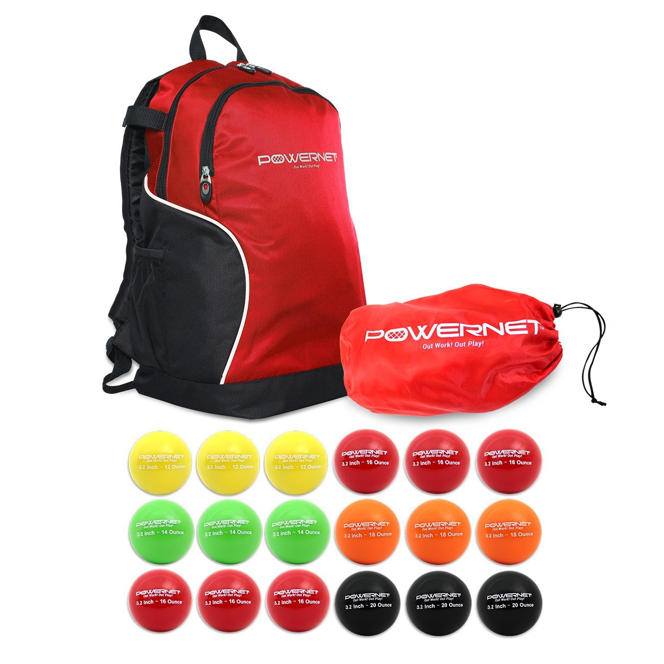 "PowerNet 3.2"" Weighted Hitting Batting Progressive Training Balls (18 Pack - Complete Set) Bundle with Baseball Backpack"