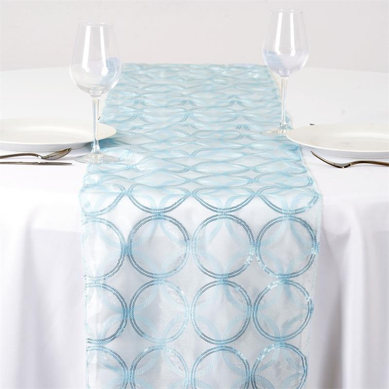 "BalsaCircle 14"" x 108"" Organza with Sequin Circles Table Top Runner Rosettes... by BalsaCircle"