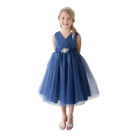Go Girl Dresses (Little Girls Navy Glitter Tulle V-Neck Rhinestone Brooch Flower Girl)