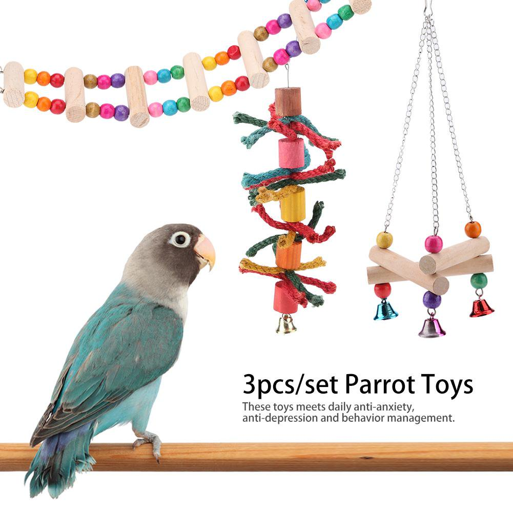 Sonew 3pcs/set Parrot Toys Triangle Stand Rack Hanging