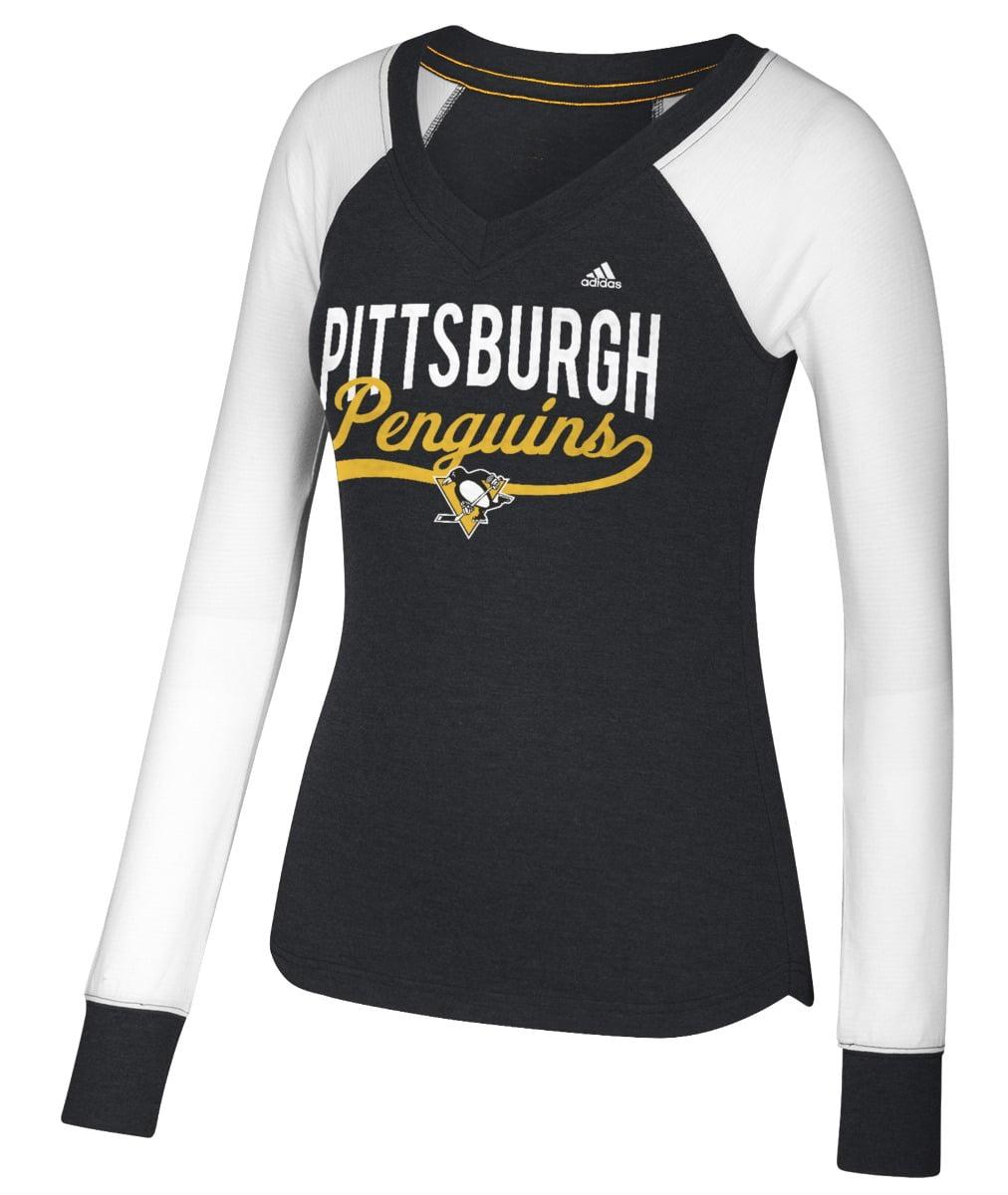 Pittsburgh Penguins Women's Adidas NHL Puck Drop Dual Blend Long Sleeve T-shirt by Adidas