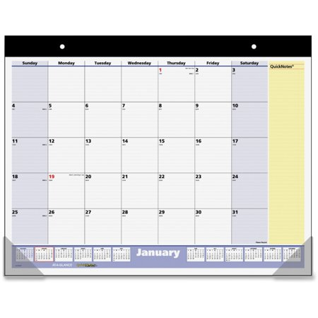 At-A-Glance QuickNotes Monthly Desk Pad - Julian - Monthly - 1.1 Year - January 2018 till January 2019 - 1 Month Single Page Layout - 22