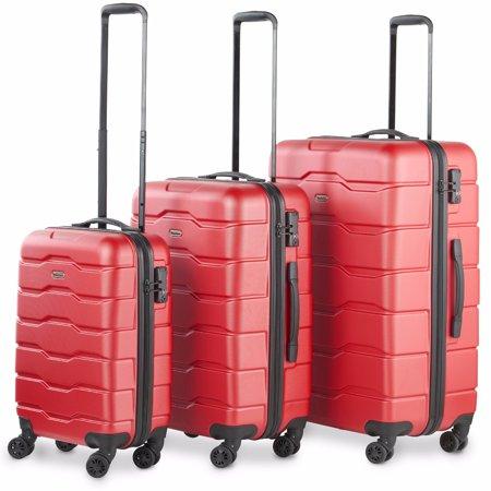 92ac59ec9da6 Premium Red 3 Piece Lightweight Travel Luggage Set - Hard Shell Suitcase  with 4 Spinner Wheels, TSA Integrated Lock, Extendable Handle - Small,  Medium ...