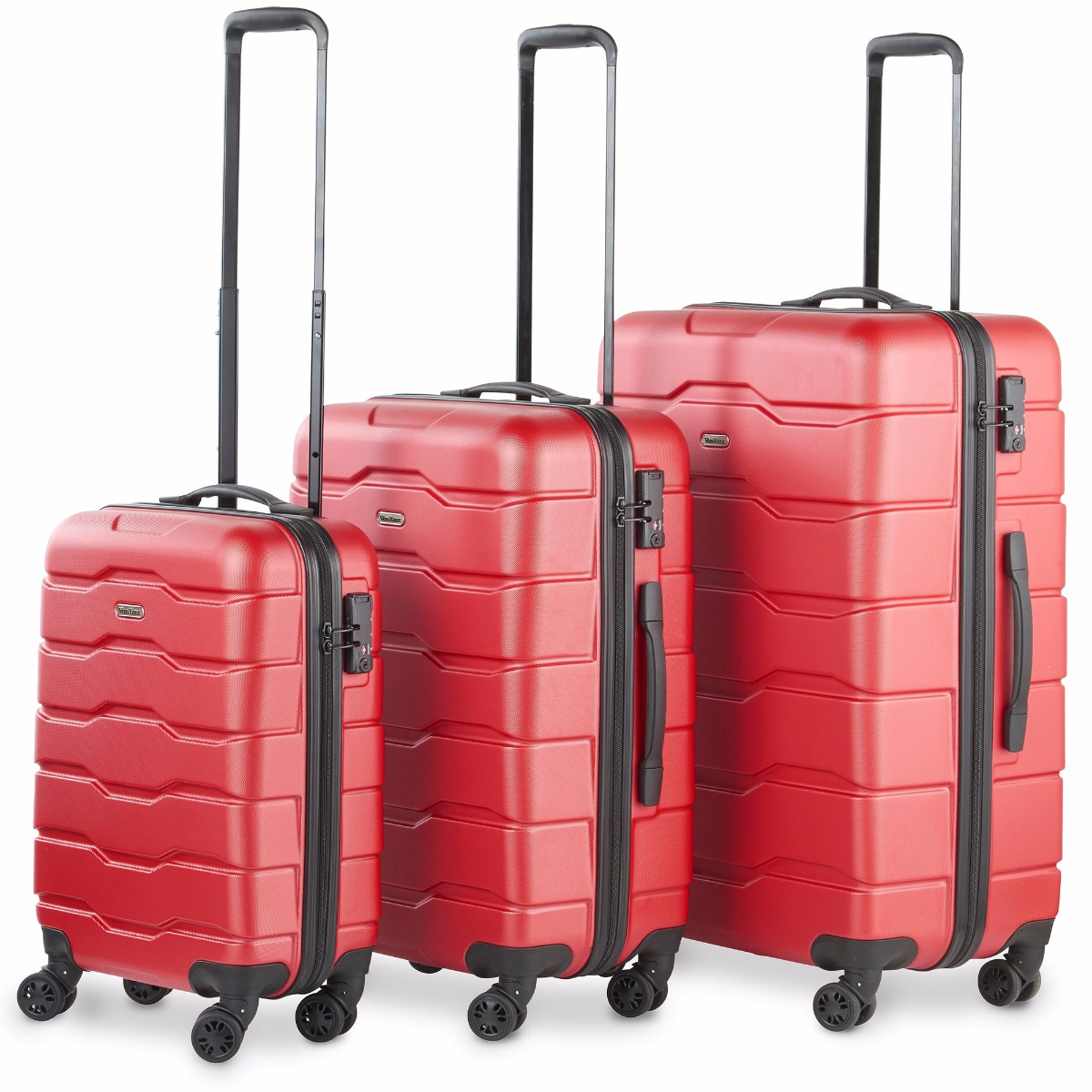 VonHaus Premium Red 3 Piece Lightweight Travel Luggage Set - Hard Shell Suitcase with 4 Spinner Wheels, TSA Integrated Lock, Extendable Handle - Small, Medium and Large