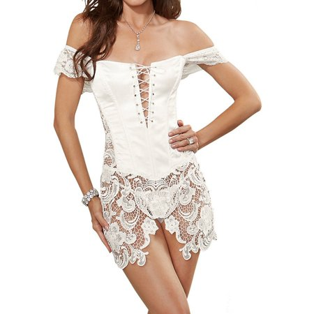 Dreamgirl 10028 Beyonce Satin Corset And Thong (Dreamgirl Bustier Sets)