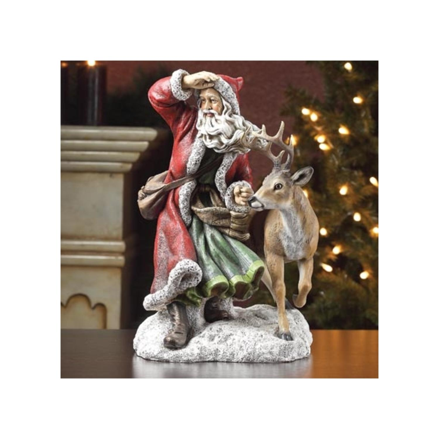 "20"" Woodland Inspirations Red and Green Santa Claus with Deer Christmas Figure"