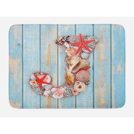 Letter J Bath Mat, Summer Holiday on Tropical Beach Theme J Rustic Old Wood Planks, Non-Slip Plush Mat Bathroom Kitchen Laundry Room Decor, 29.5 X 17.5 Inches, Pale Blue Ivory Dark Coral, Ambesonne - Summer Theme