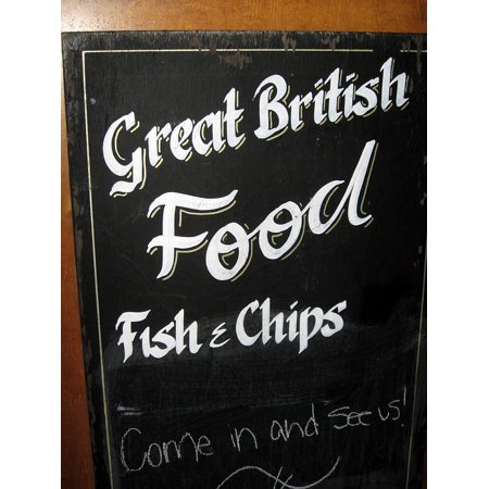 Canvas Print Billboard London Fish And Chips Restaurant Pub Stretched Canvas 10 x 14 (Fish And Chips For Parties)