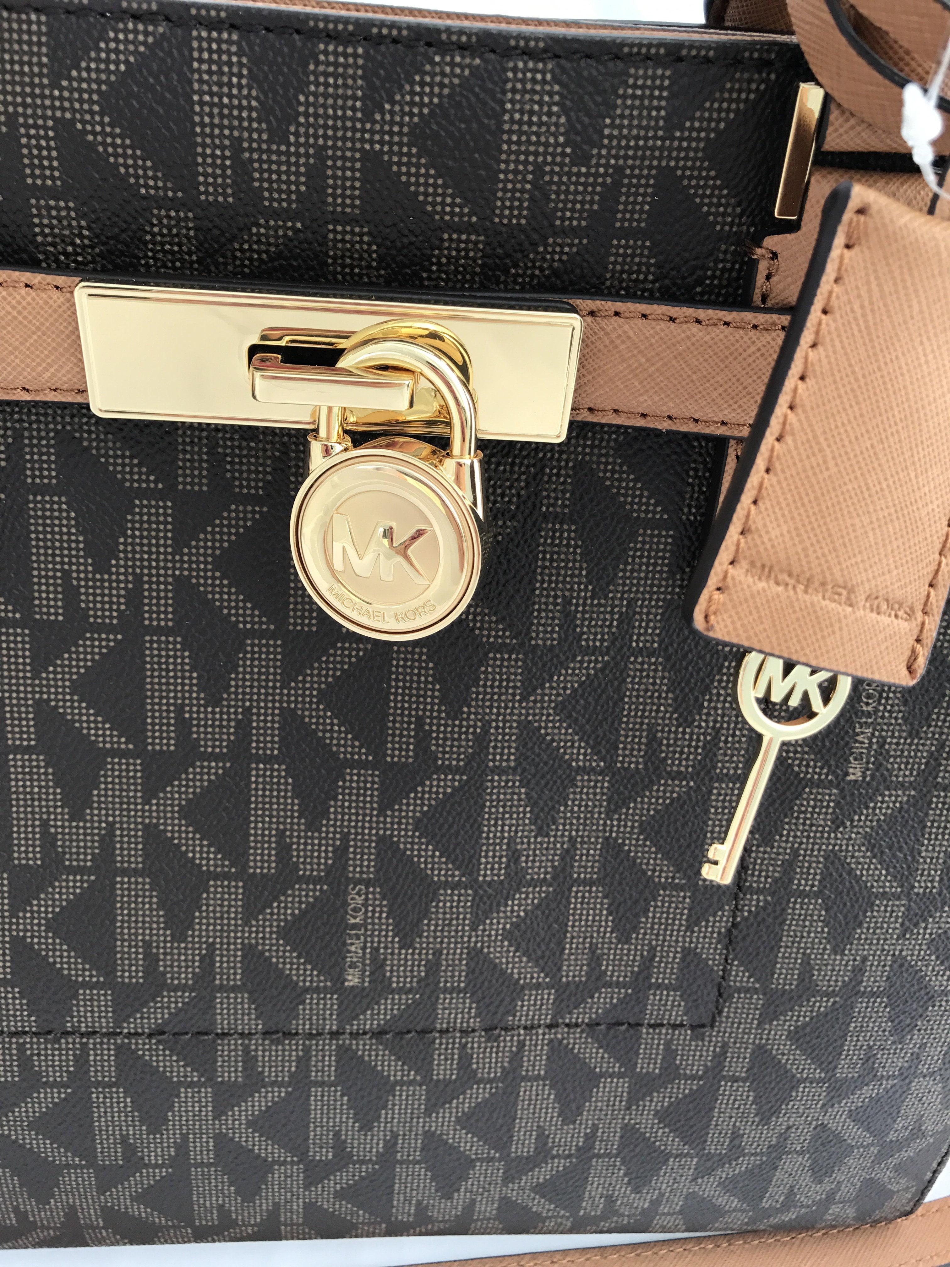 eeba86912e11 Michael Kors - Michael Kors Hamilton Traveler Large Satchel Top Zip Tote  Brown Signature Acorn - Walmart.com