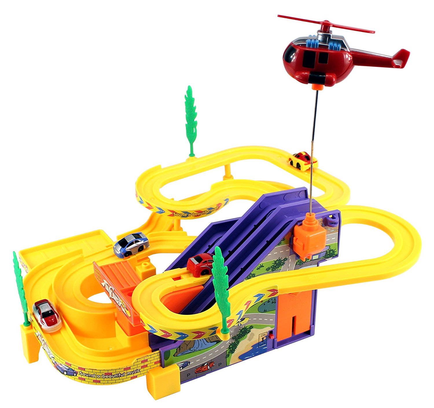 Track Racer Car & Helicopter Children's Kid's Battery Operated Toy Vehicle Playset
