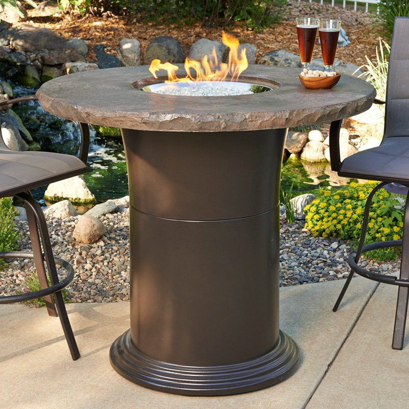 Outdoor GreatRoom 48 in. Colonial Bar Height Fire Pit Table with Free Burner Cover and Optional Glass Guard