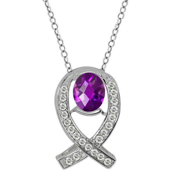 1.44 Ct Oval Checkerboard Purple Amethyst White Topaz Sterling Silver Pendant
