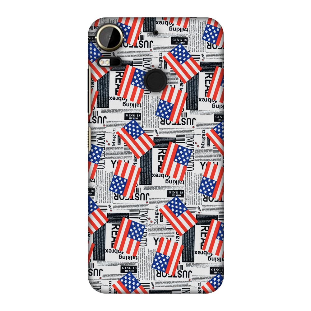 HTC Desire 10 Pro Case, Ultra Slim Designer Snap On Hard Shell Case Back Cover with Screen Cleaning Kit for HTC Desire 10 Pro - USA Flags