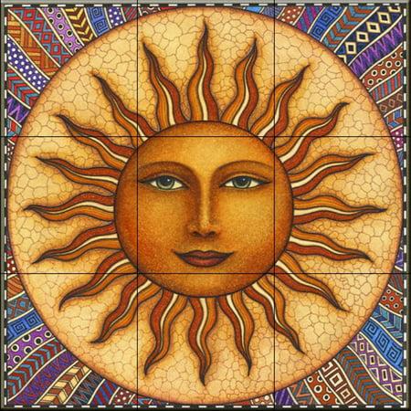 Ceramic Tile Mural - Celestial Sun - by Dan Morris - Kitchen backsplash / Bathroom shower Accent Ceramic Tile Mural Art