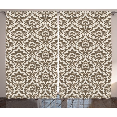 Damask  Curtains 2 Panels Set, Floral Damask Featuring Scrolled Motifs Antique Victorian Style Print Old Country Decor, Living Room Bedroom Decor, Brown Beige, by Ambesonne