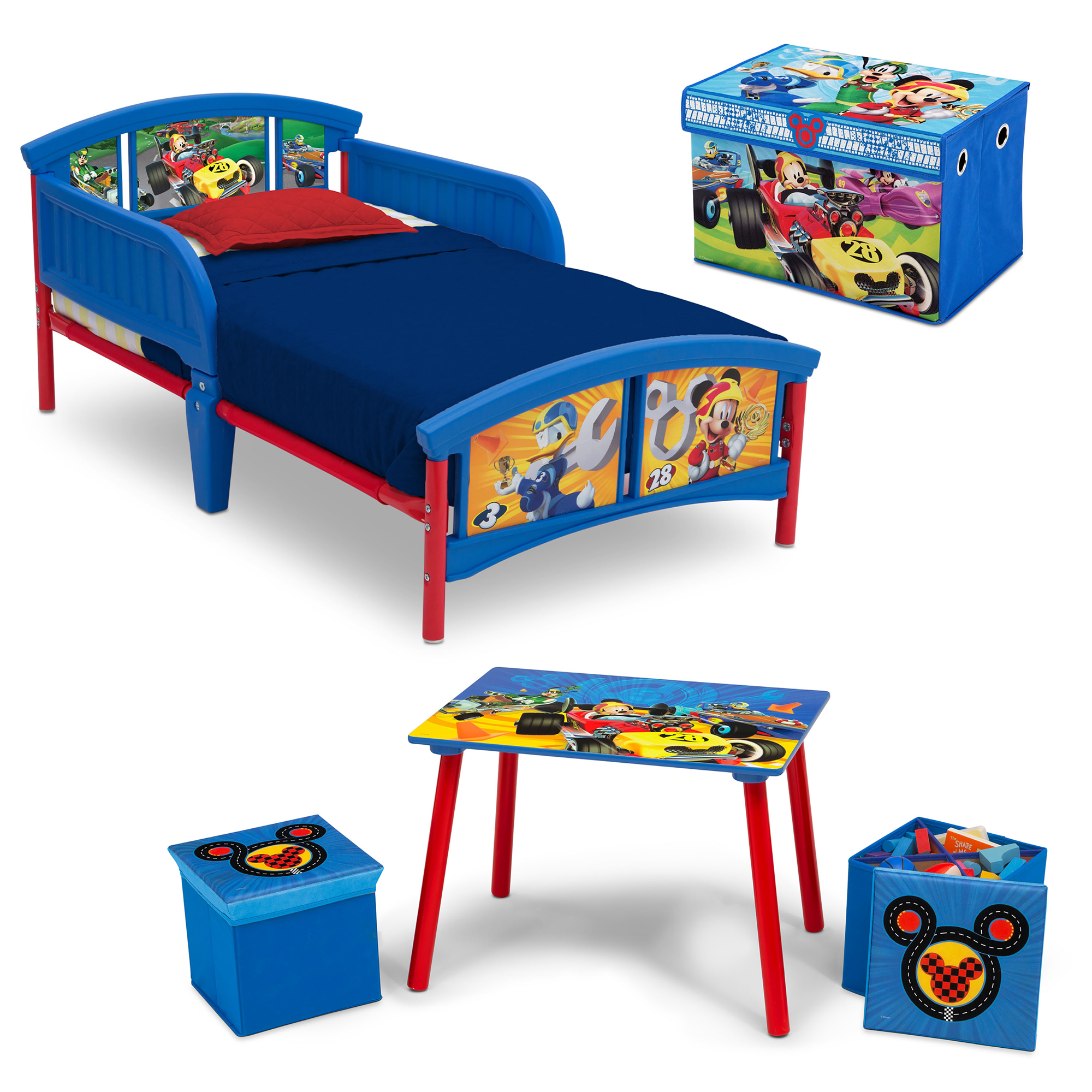 Disney Mickey Mouse 4-Piece Toddler Bed Bedroom Set with BONUS Fabric Toy Box by Delta Children