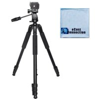 """80"""" Inch Elite Series Professional Heavy Duty w/ Angled Legs, Action Camera Tripod For Canon Cameras + eCostConnection Microfiber Cloth"""