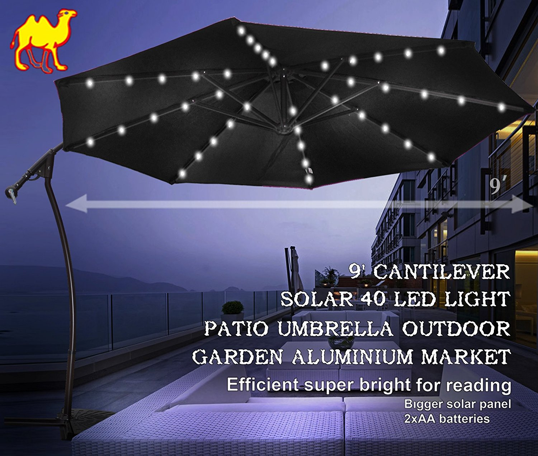 9 Ft Cantilever Solar Powered LED Light Patio Offset Hanging Umbrella  Outdoor Garden Black   Walmart.com