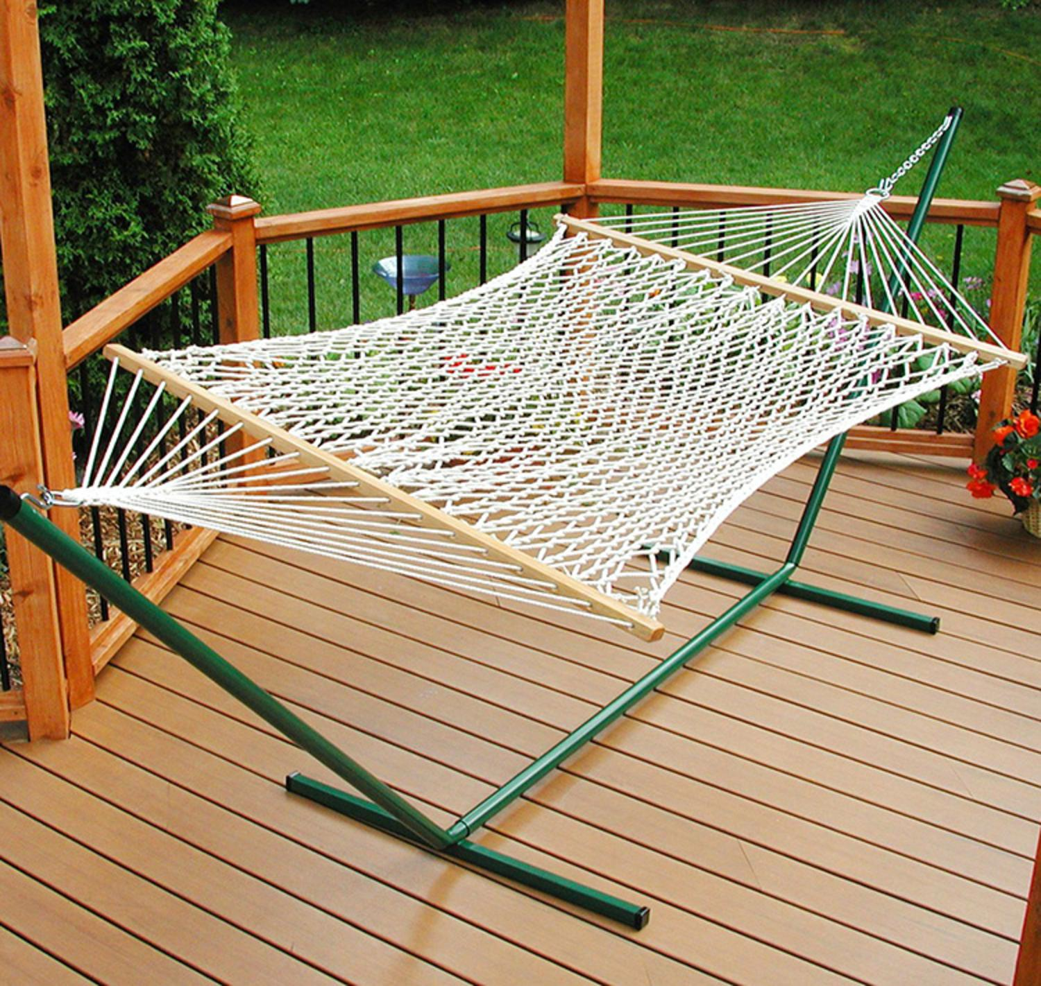 "76"" x 52"" Deluxe Rope 2-Point Single Hammock"
