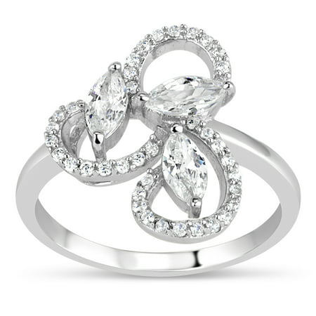 Sterling Silver Rhodium Plated Created White Sapphire Marquis and Round Swirl -