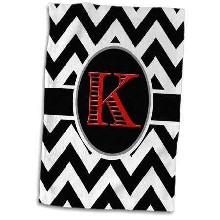 3D Rose Black and White Chevron Monogram Red Initial K Hand Towel 15 x 22