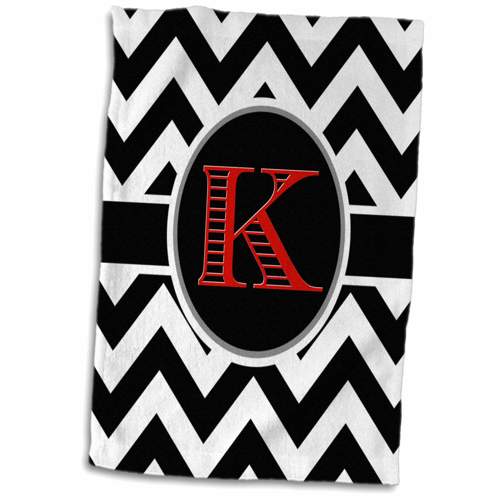3D Rose Black and White Chevron Monogram Red Initial K Hand Towel 15 x 22