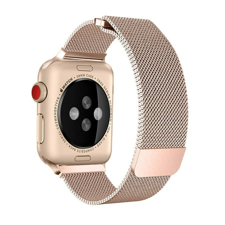 official photos 49282 ed1c1 Apple Watch Band 40mm, Stainless Steel Mesh Milanese Loop with Adjustable  Magnetic Closure with Clear Hard Case for Apple Watch Series 3 2 1 (40mm ...