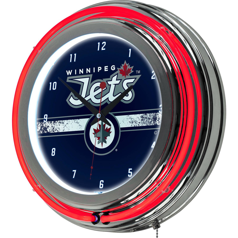 NHL Chrome Double Rung Neon Clock, Winnipeg Jets