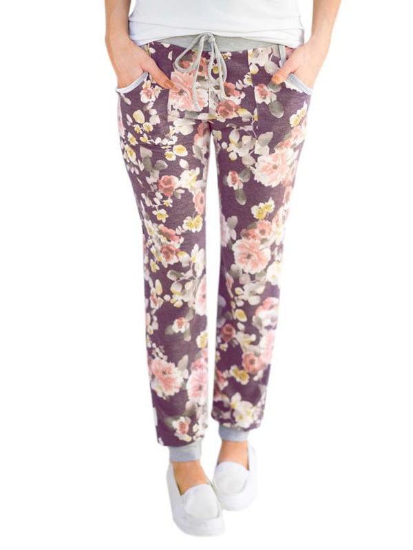 EFINNY Fashion Women Casual Floral Printed Bind Feet Sweatpants Pants Sport Wear